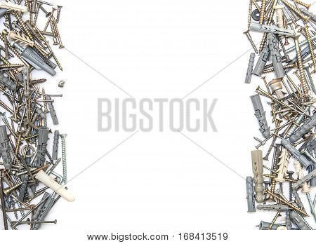 Screws With Plastic Dowels isolated in white background