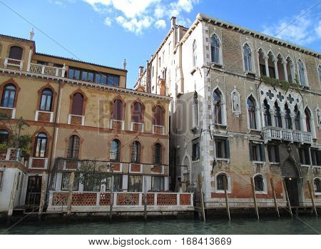 Stunning vintage architecture against vivid blue sky, Venice, Italy