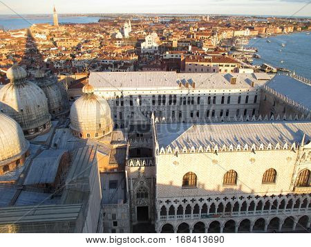 Breathtaking View of Venice Cityscape and The Doge's Palace in the Evening Sunlight of Italy
