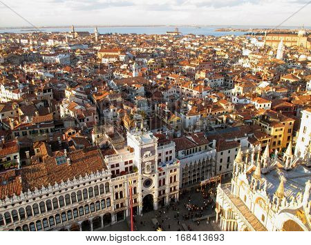 Stunning Architecture and Cityscape of Venice as seen from Campanile Bell Tower, Italy