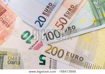 Euro banknote money as background close up