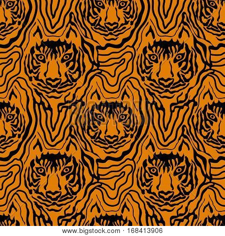 Seamless vector pattern with hand drawn tiger face and chaotic stripes. Safari textile collection