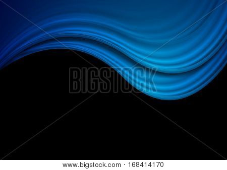 Dark blue abstract waves background. Vector design illustration eps 10