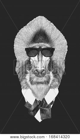 Portrait of Mandrill in suit. Hand drawn illustration.
