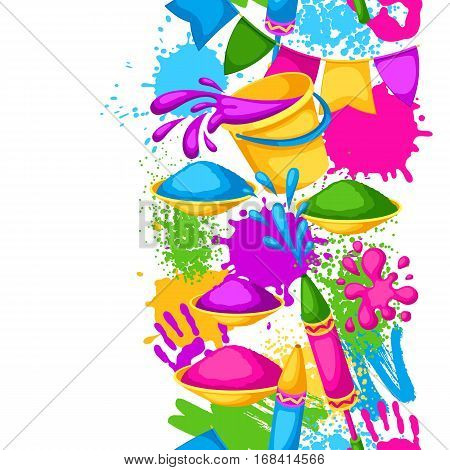 Happy Holi colorful seamless border. Illustration of buckets with paint, water guns, flags, blots and stains.