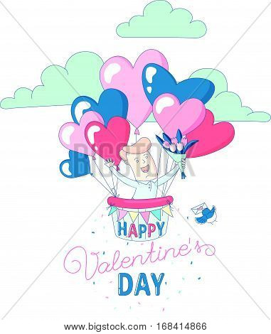 Happy Valentine's Day party greeting card invitation funny boy character flying with hot air heart balloons holding flowers. Line flat design kid's style. Vector illustration.
