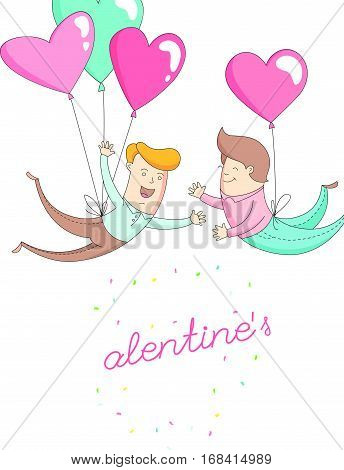Funny cute gey men characters flying by heart balloons to congratulate each other with Happy Valentine's Day. Flat line design style. Vector illustration.