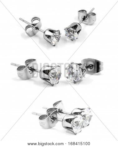 Earrings Pellets - Stainless Steel And Zircon - White Background