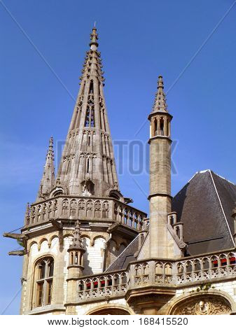 Gorgeous Rooftop Details and Decoration of the Historic Building in Ghent, Belgium