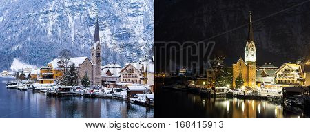 Hallstatt And Hallstatterr See Mountain Lake Winter Day And Night View, Alps, Austria