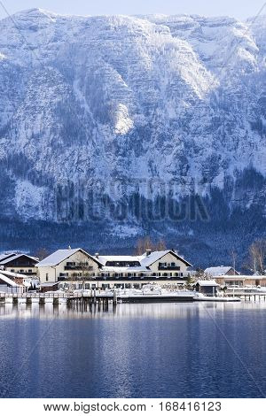 Obertraun And Hallstatterr See Mountain Lake Winter Landscape, Alps, Austria