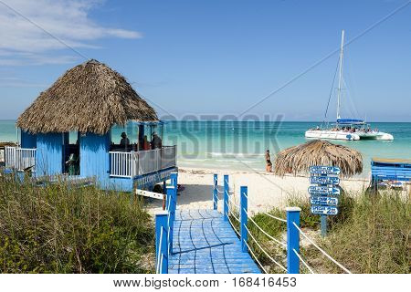 Cayo Guillermo Cuba - 16 january 2016: people sailing on a catamaran sailboat in clear water of Cayo Guillermo beach Cuba