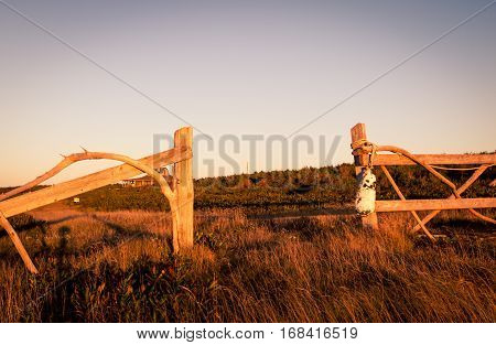 Wooden fence posts in a field in Prince Edward Island