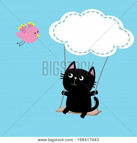 Cat ride on the swing. Cloud shape. Flying pink bird. Cute fat cartoon character. Kawaii baby pet collection. Love card. Flat design. Funny kids style. Blue sky background Isolated Vector illustration