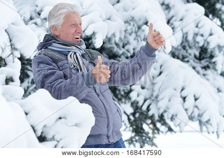 Portrait of a mature man posing outdoors in winter