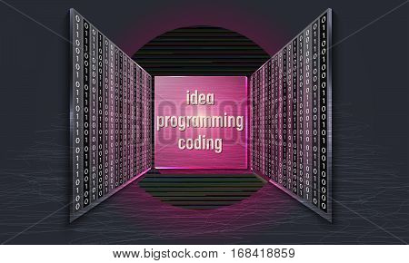 Set of three glass panels with binary code and the words idea programming coding