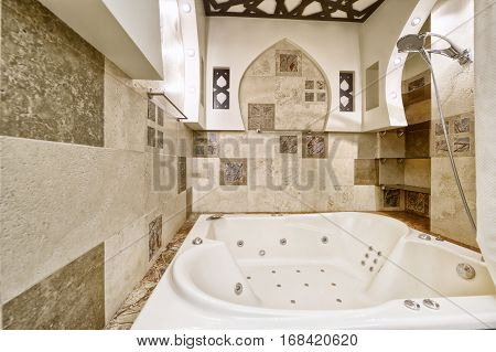 Russia, Moscow region - the interior design bathroom in luxury new flats