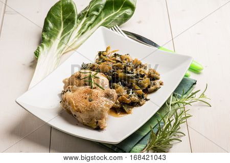 chicken legs with swiss chard