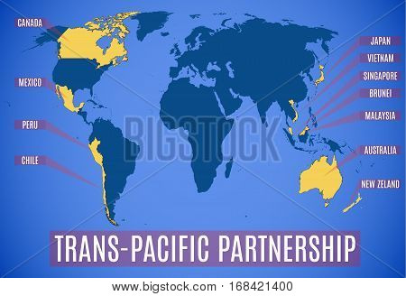 Map Of The New Trans-pacific Partnership After The Usa (tpp).