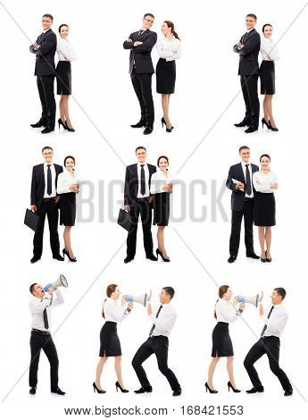 Business people isolated on white. Business man and businesswoman in set collection.