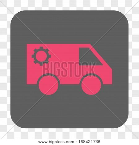 Service Car interface toolbar button. Vector icon style is a flat symbol in a rounded square button pink and gray colors chess transparent background.
