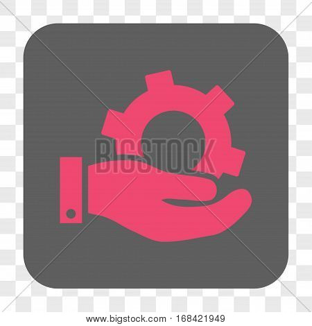 Service interface toolbar button. Vector icon style is a flat symbol on a rounded square button pink and gray colors chess transparent background.