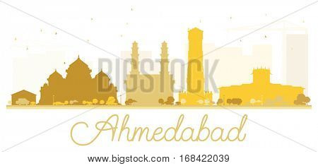 Ahmedabad City skyline golden silhouette. Simple flat concept for tourism presentation, banner, placard or web site. Cityscape with landmarks
