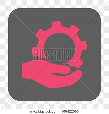Service interface toolbar button. Vector icon style is a flat symbol inside a rounded square button pink and gray colors chess transparent background.
