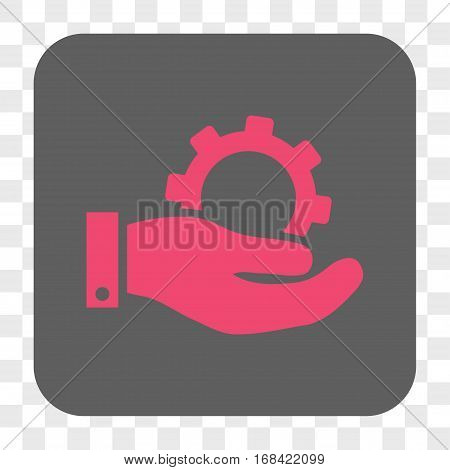 Service interface toolbar button. Vector icon style is a flat symbol in a rounded square button pink and gray colors chess transparent background.