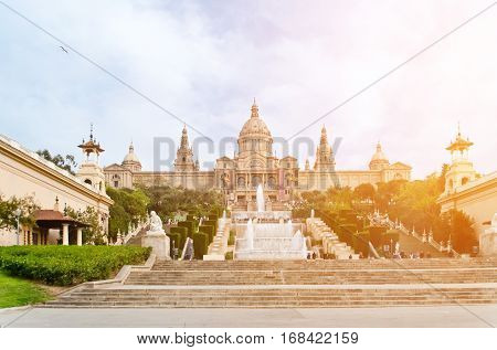 The Museu Nacional d'Art de Catalunya is the national museum of Catalan visual art located in Barcelona Catalonia Spain. Situated on Montjuic hill at the end of Avinguda de la Reina Maria Cristina.