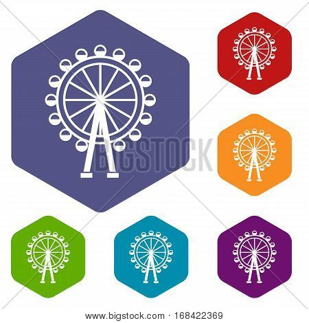 Ferris wheel icons set rhombus in different colors isolated on white background