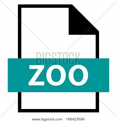 Use it in all your designs. Filename extension icon ZOO LZW compression algorithm in flat style. Quick and easy recolorable shape. Vector illustration a graphic element.