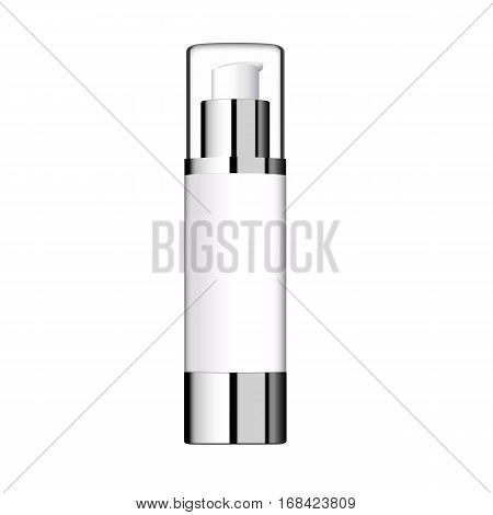 Realistic Cosmetic bottle. Container for cream, foams and other cosmetics. Template For Mock up Your Design. vector illustration.