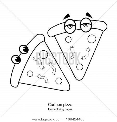 Cartoon pizza -food coloring drawing pages vector