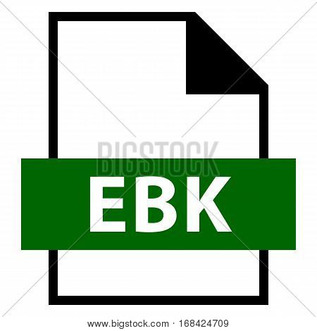 Use it in all your designs. Filename extension icon EBK EARS Database Backup or Email Saver Xe Backup File or Embiid Reader eBook in flat style. Vector illustration a graphic element. poster