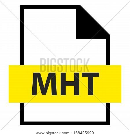 Use it in all your designs. Filename extension icon MHT MIME HTML archive format in flat style. Quick and easy recolorable shape. Vector illustration a graphic element.