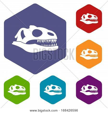 Skull of dinosaur icons set rhombus in different colors isolated on white background