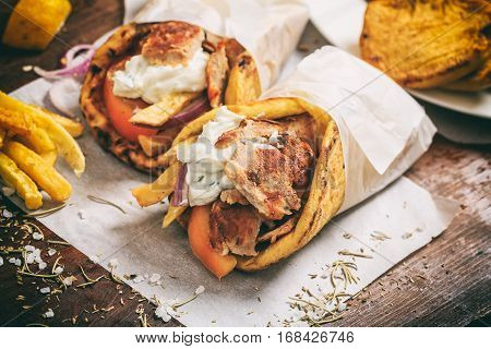Greek Gyros Wraped In A Pita Bread