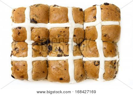 Hot cross buns, isolated on white.  Top view.  Six Easter treats.