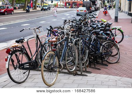 A lot of bicycles on street parking in Amsterdam, July 29, 2013.