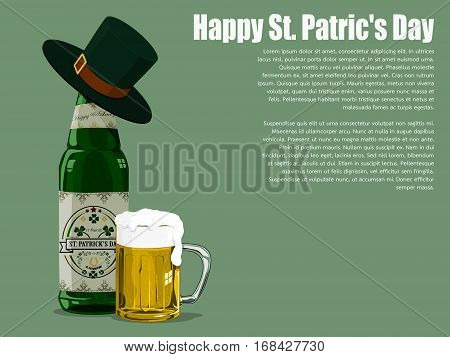 Isolated St patrick's beer on  Viridian background