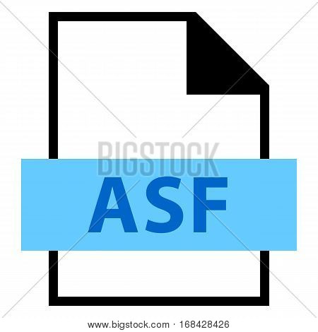 Use it in all your designs. Filename extension icon ASF Advanced Streaming Format, Active Streaming Format in flat style. Quick and easy recolorable shape. Vector illustration a graphic element.