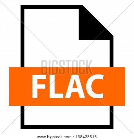Use it in all your designs. Filename extension icon FLAC Free Lossless Audio Codec in flat style. Quick and easy recolorable shape. Vector illustration a graphic element.
