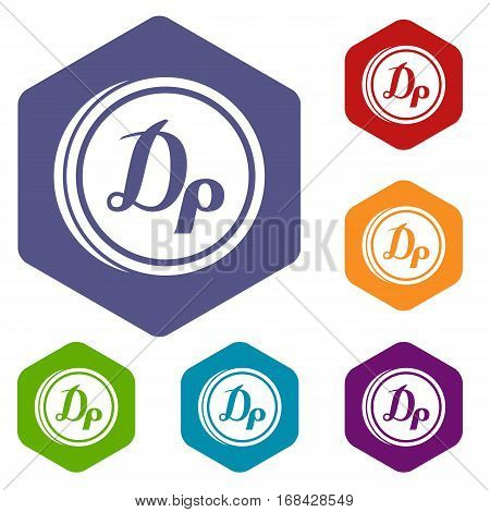 Coin drachma icons set rhombus in different colors isolated on white background