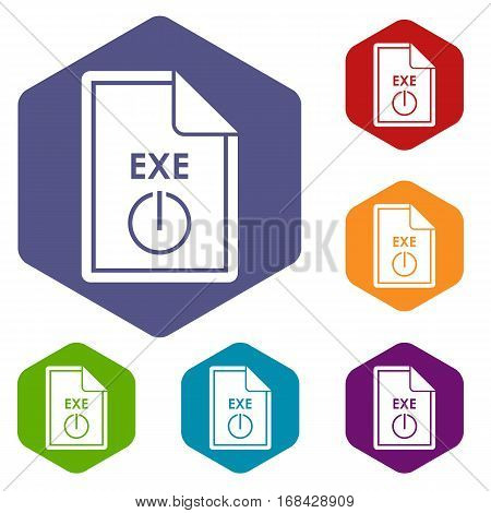 File EXE icons set rhombus in different colors isolated on white background