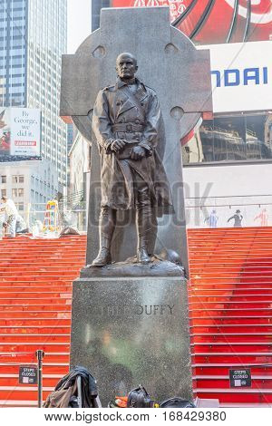 New York City USA- May 20 2014. Statue Of Father Francis D. Duffy in Time Square New York USA.