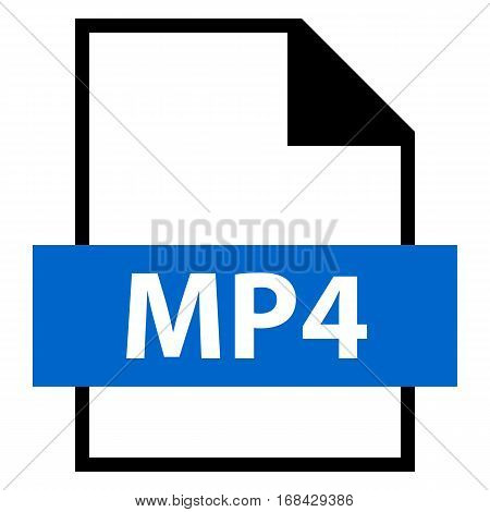 Use it in all your designs. Filename extension icon MP4 MPEG-4 or MP4 is a digital multimedia container format in flat style. Quick and easy recolorable shape. Vector illustration a graphic element.
