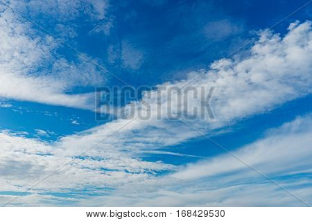 Wonderful altocumulus clouds on blue sky natural background