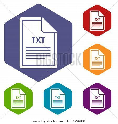 File TXT icons set rhombus in different colors isolated on white background