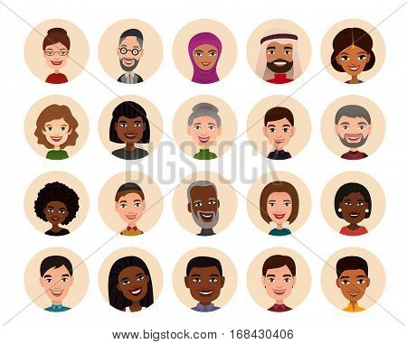 Happy people round avatar icon set vector illustration. Smiling men and women of different nationalities, people heads. Multicultural society concept, man and woman characters in national dress
